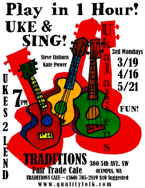 Uke&Sing! 3rd Mondays at Tradition in Olympia