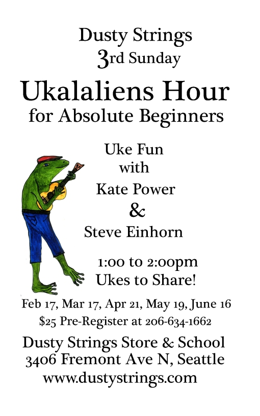 Ukalaliens on 3rd Sundays at Dusty Strings - uke fun for absolute beginners!